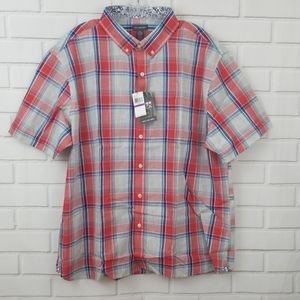 Van Heusen Never Tuck Plaid Short Sleeve Shirt